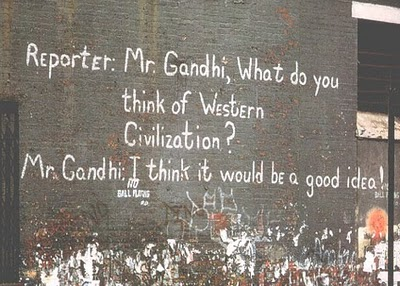 "Image result for gandhi ""I think it would be a good idea."""